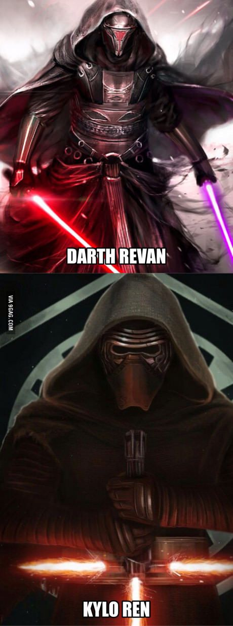 To those few people who don't know the difference between Darth Revan (Top) and Kylo Ren (Bottom).