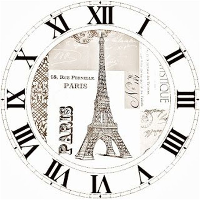 clock face with eiffel tower