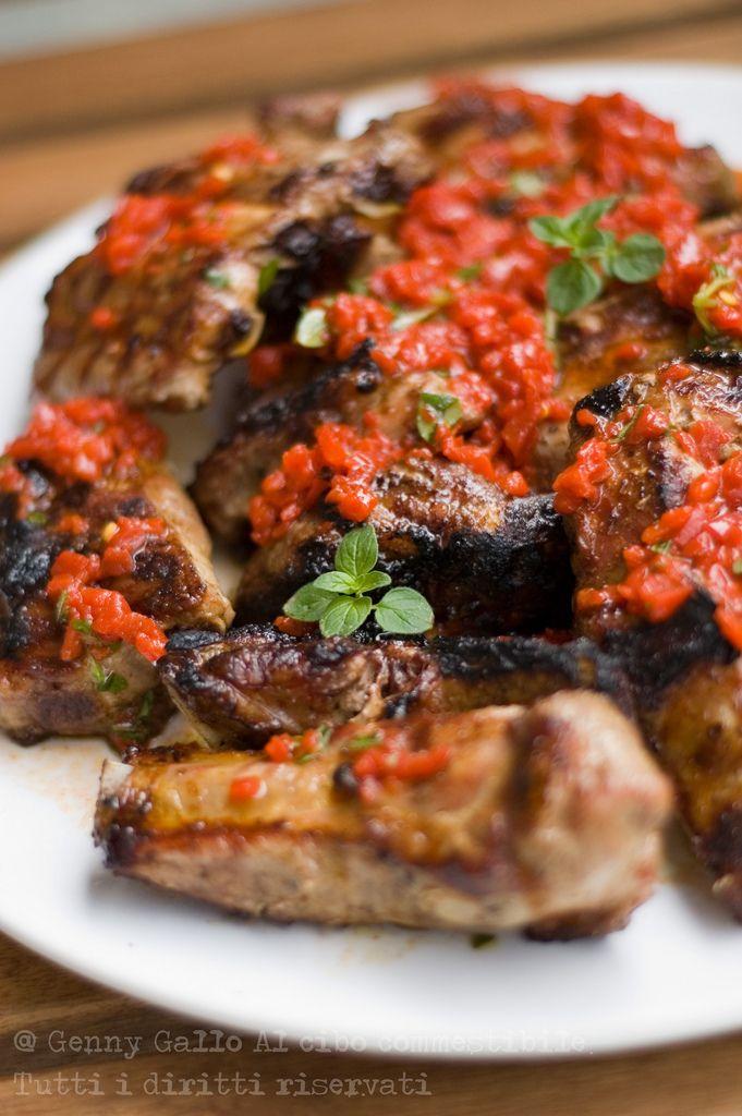 Costine al BBQ con salsa di peperoni
