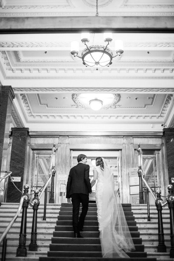 Beautiful photo of the bride & groom, Melissa & Gareth, from their wedding at the Melbourne Town Hall #loveherdress #perfectcouple #redcarpet