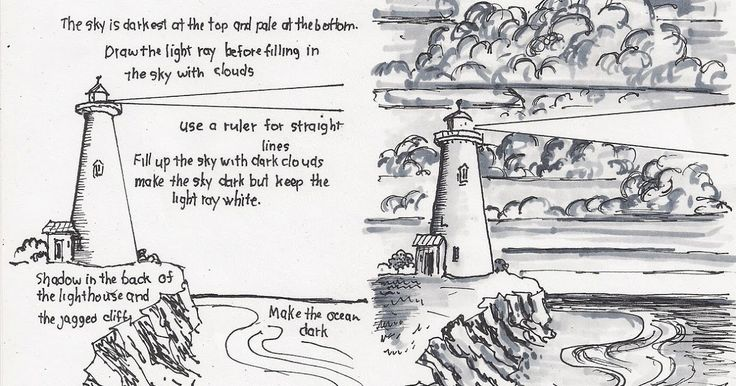 How to draw a lighthouse.   This free printable How To Draw A Lighthouse Worksheet is a simple picture of a lighthouse and is easy to d...