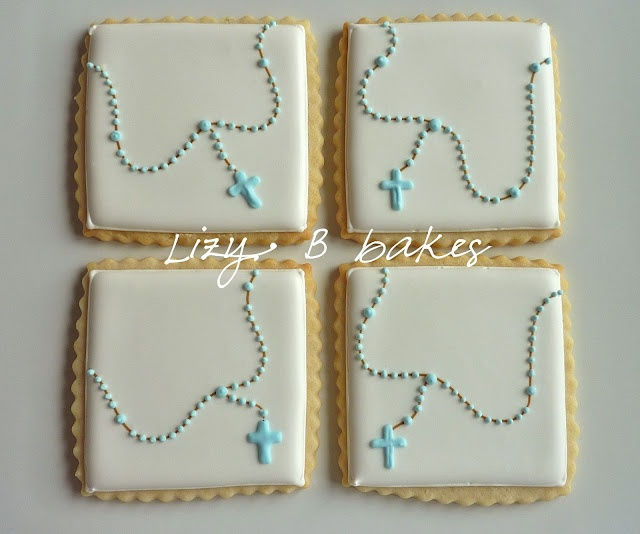rosary cookies for religious occasion.
