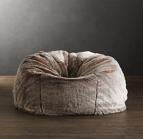 Restoration Hardware Furry Bean bag: DIY???  I know just the fabric I would use!!!  I will let you know if I try it :)