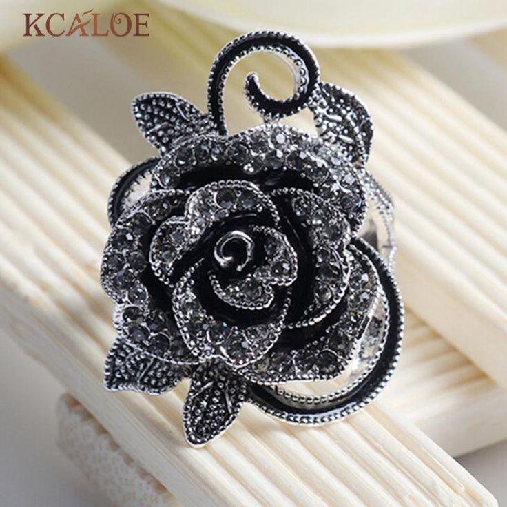 Zwarte Bloem Ringen Voor Vrouwen 2016 Fashion Crystal Zirconia Vintage Sieraden Verzilverd Accessoires Aneis Feminino Ring