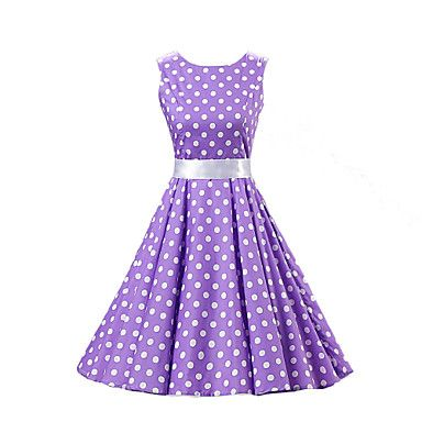 Women's+Going+out+Vintage+/+Cute+A+Line+/+Skater+Dress,Polka+Dot+Round+Neck+Knee-length+Sleeveless+Purple+Cotton+Spring+Mid+Rise+–+USD+$+24.69