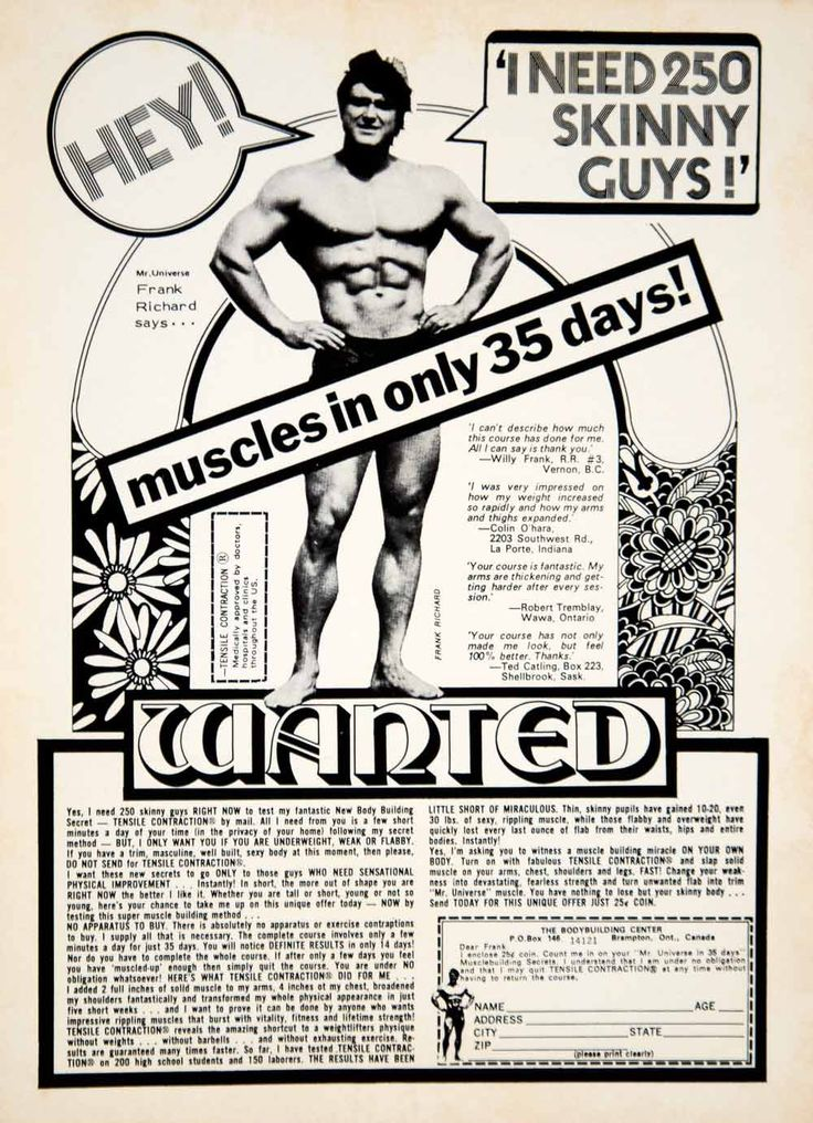 1972 Ad Frank Richard Bodybuilding Center Gym Physical