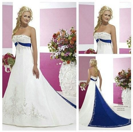 Strapless Embroedery long train with beading royal blue and white wedding dresses US $210.00