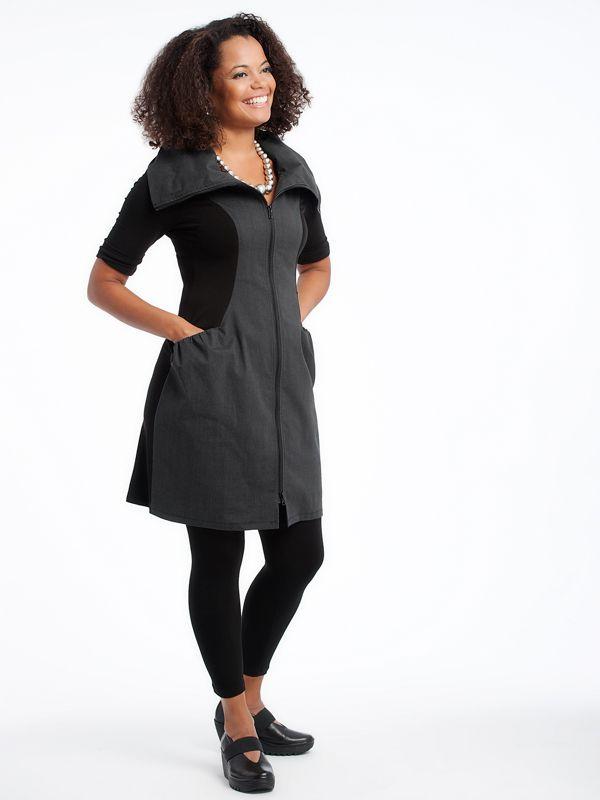 Zip dress with Leggings and London Fly Shoes  www.lousjeandbean.ca  #lousjeandbean #londonfly #shoplocal #canadianmade Tessa Oort ~ Lousje & Bean