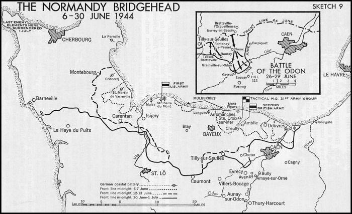 The Normandy Front Line when Operation Epson was planned