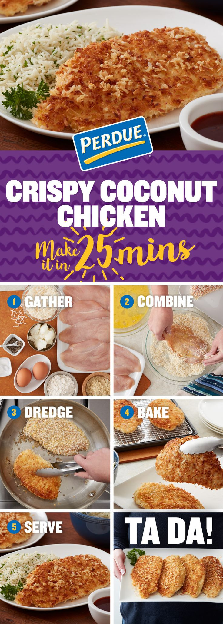 In less than thirty minutes you can make delicious panko breaded Crispy Coconut Chicken using PERDUE® PERFECT PORTIONS® Boneless Skinless Chicken Breast. Click the image for the full recipe.