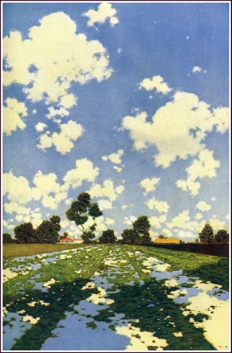 The Great Southwest: Water Let in on a Field of Alfalfa...Artist: Maxfield Parrish (1902)