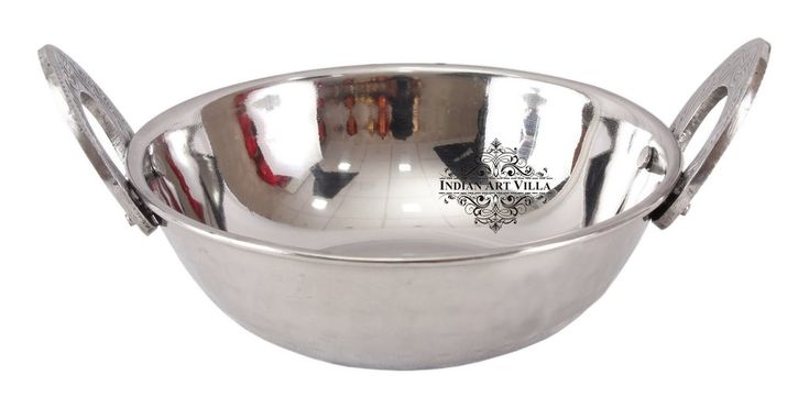 Steel Kadhai Wok with Embossed Handle - Serving Dishes Hotel Restaurant