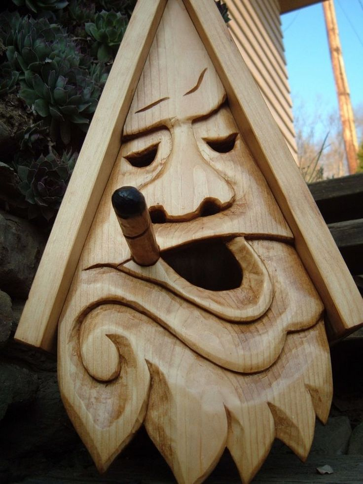 Bird House Hand Carved Stogie Face Wood Spirit 16 Quot