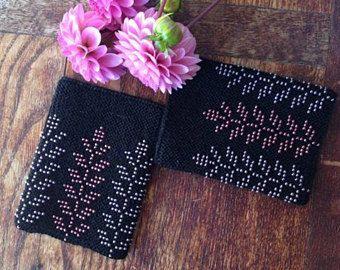 Black beaded wrist warmers merino wrist warmers knit wrist
