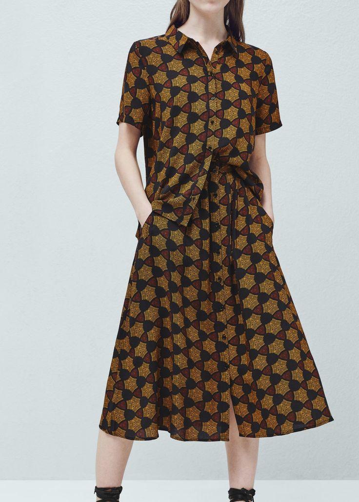 Струящаяся юбка с принтом