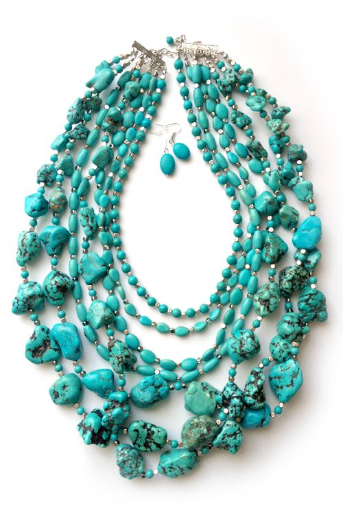Chunky Layered Turquoise Necklace and Earrings Set on Emma Stine Limited