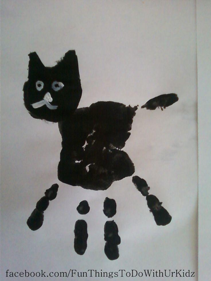 black cat hand print