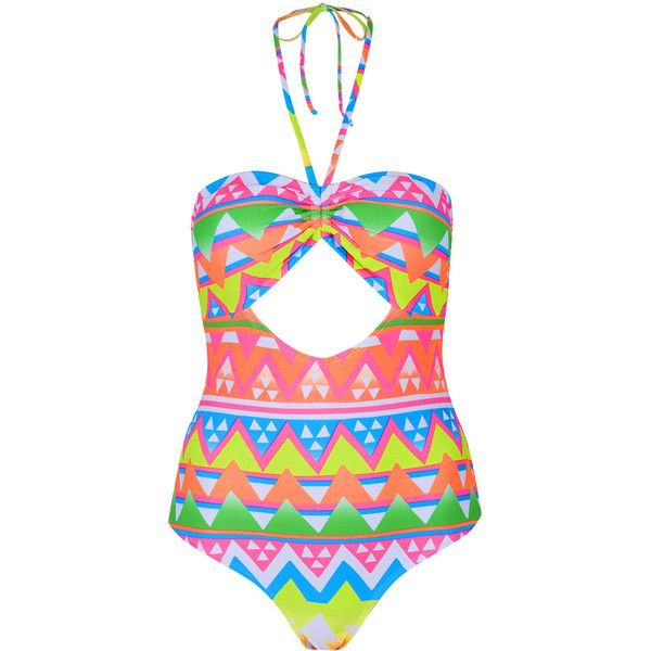 TOPSHOP Aztec Surf Cut-Out Swimsuit ($20) ❤ liked on Polyvore featuring swimwear, one-piece swimsuits, swimsuits, bikini, swim, multi, halter bikini top, halter swimsuit, halter bikini and halter swim top