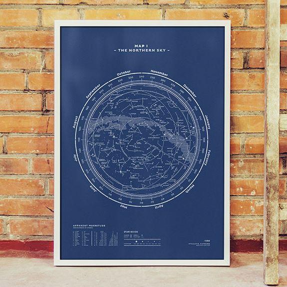 stellavie hamburg The Northern Sky Map print plakat poster med stjerne himmel køb i areastore.dk