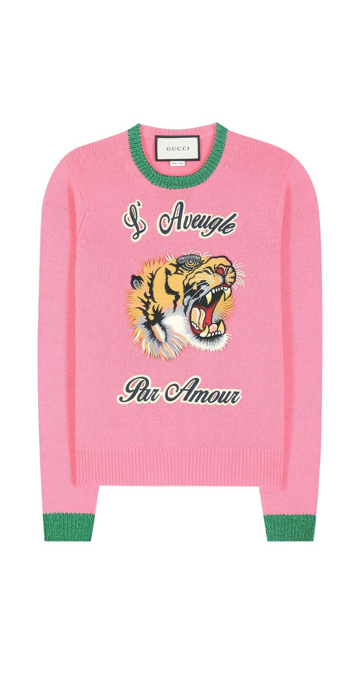 Gucci Women's Tiger Pink Wool Sweater