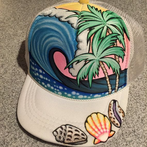 Youth/adult small handpainted trucker hat by JulesJewelsJewelry