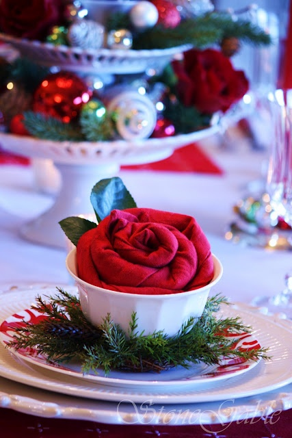 Great Holiday Table & Rose folded Napkin~ rose napkin would be pretty at Valentines or a wedding too!
