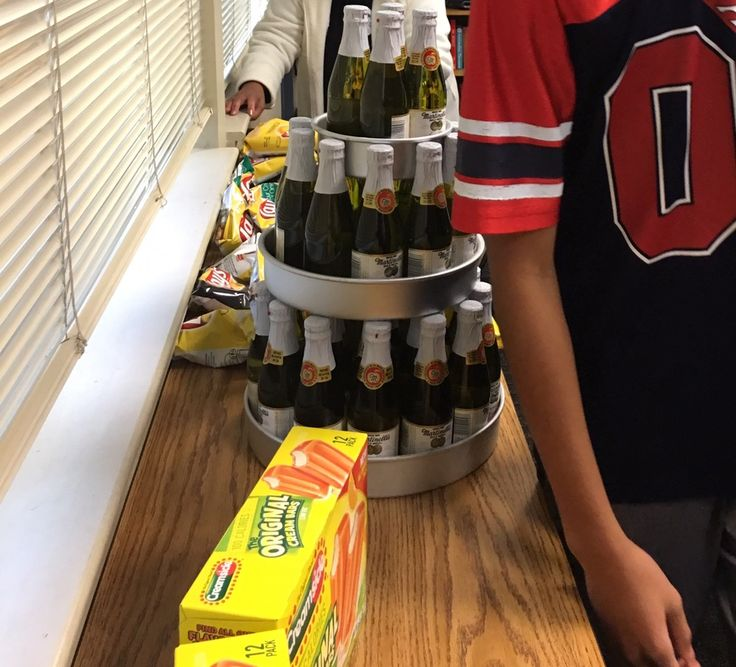 Martinelli Sparkling Apple Cider 10 oz bottle tower makes a great teen Birthday Cake!