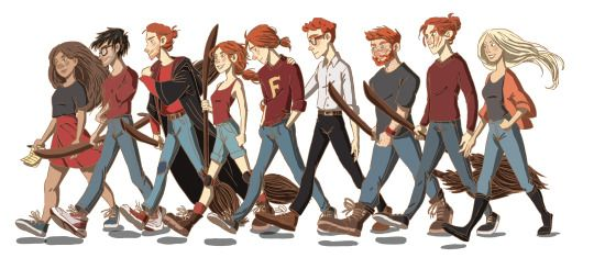 Here's a line-up! From left to right: Hermione, Harry, Ron, Ginny, George, Percy, Charlie, Bill and Fleur. All the family is going to play quidditch in the garden.