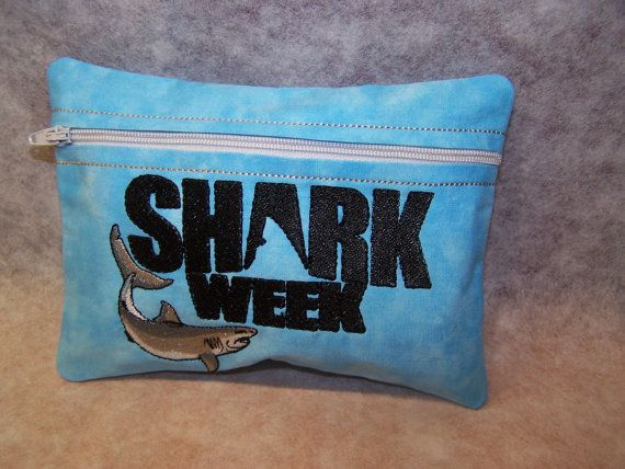 Tampon & Maxi Pad Holder  SHARK WEEK   Zippered by WoobiesGifts, $11.95