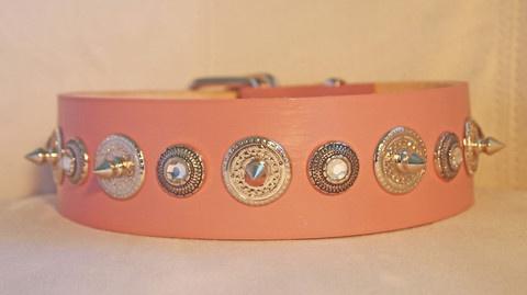 Custom Pink Leather Dog Collar