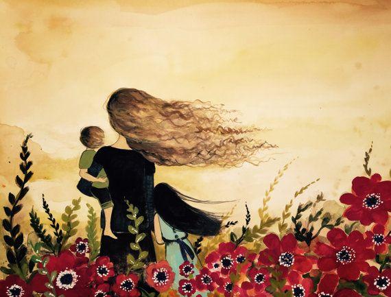impresión de la madre y 2 hijos en campo de flor roja.