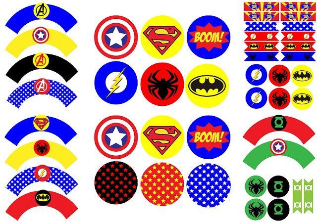 Fiesta de Cumpleaños de Super Héroes: Etiquetas, Banderitas, Wrappers y Toppers…