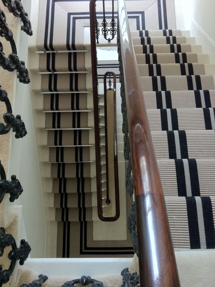 Hartley & Tissier Stripes stair runner PNT16 Black. www.hartleytissier.com