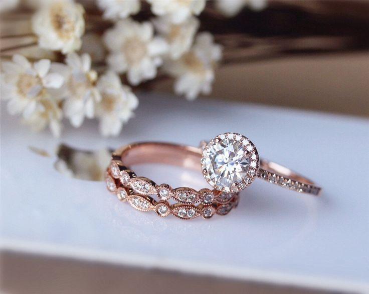 1ct Brilliant Moissanite Engagement Ring 3 Ring Set Solid 14K Rose Gold Wedding Ring Set Moissanite Ring Set Anniversary Ring Set by JulianStudio on Etsy https://www.etsy.com/listing/218278001/1ct-brilliant-moissanite-engagement-ring