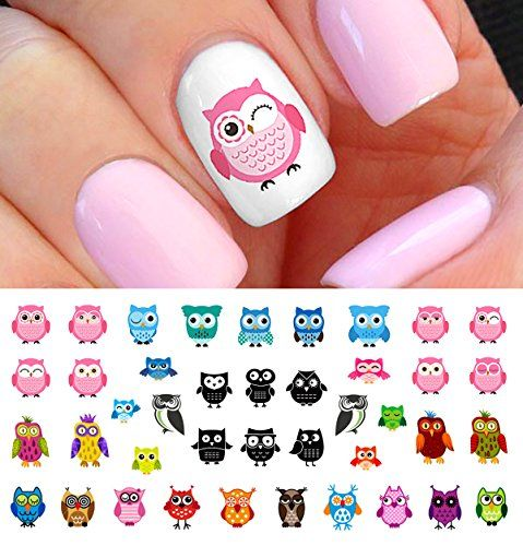 Owl Assortment Nail Art Waterslide Decals Set #1 - Salon Quality! Moon  Sugar Decals