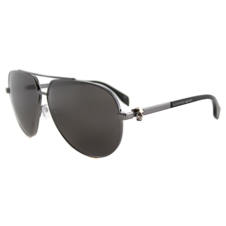 Alexander McQueen AM 0018S 004 Skull Pilot Frame Ruthenium Black Metal  Aviator Grey Lens Sunglasses