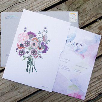 Purple flower wedding invitation; Photo by David Rager #weddings
