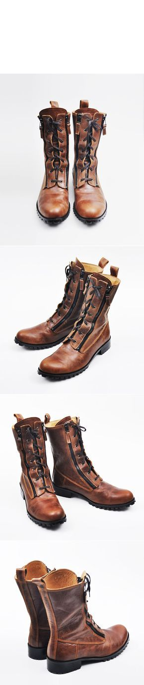 Shoes :: Runway Zippered Vintage Brown Raven Boots-Shoes 142 - GUYLOOK Men's Trendy Fashion Clothing Online