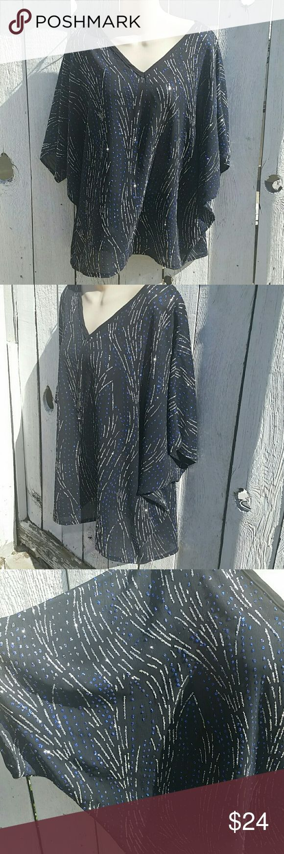 VINTAGE BALMAIN TOP Vintage silver/blue glitter on black chiffon flowy top with dolman sleeve. Beautiful Balmain style top. Fits size small to x-large best.  Perfect for up coming music festivals. VINTAGE  Tops