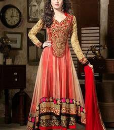 Buy RED embroidered georgette semi-stitched salwar with dupatta anarkali-salwar-kameez online
