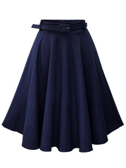 Shop Navy Denim Flared Mid Skirt With Belt online. SheIn offers Navy Denim Flared Mid Skirt With Belt & more to fit your fashionable needs.