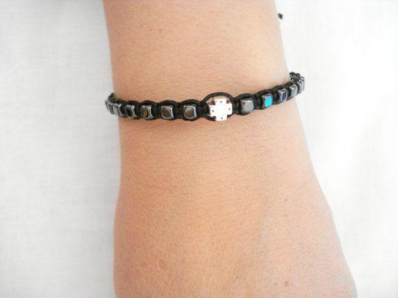 Hematite cross bracelet Men's bracelet Hematite cube by Poppyg