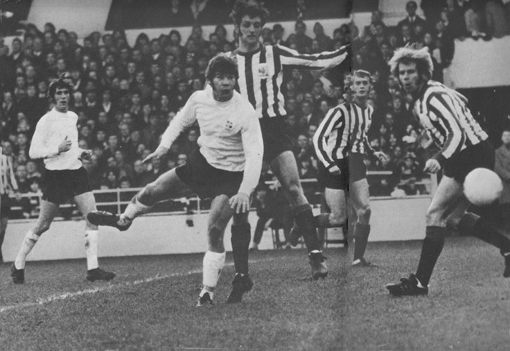 6th February 1971.. Luton Town centre forward Malcolm MacDonald scoring against promotion rivals Sheffield United.