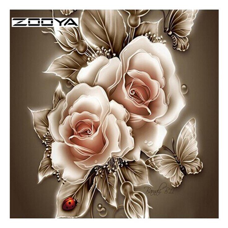 ZOOYA Diy Diamond Painting Flower Diamond Cross Stitch Crystal Round Diamond Sets Unfinished Full Diamond Embroidery DD467