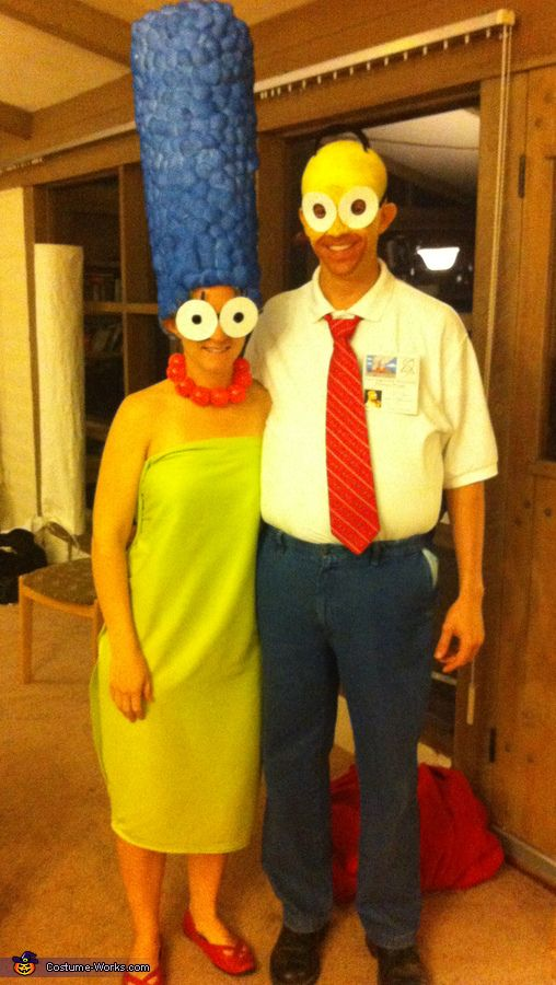 Amy: My boyfriend Garrett and I decided to dress as our favorite cartoon couple. I made the hat from posterboard, spray adhesive, about 500 cotton balls, and blue spray paint. The...