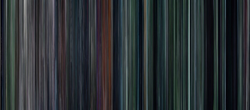 The frames of The Hunger Games, compressed left to right (in a barcode). It's all earth tones except for what looks like the interview scenes. This is a cool idea, you get such a clear view of the color scheme of the movie