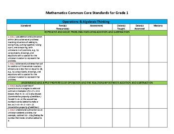 First Grade Common Core Curriculum Form