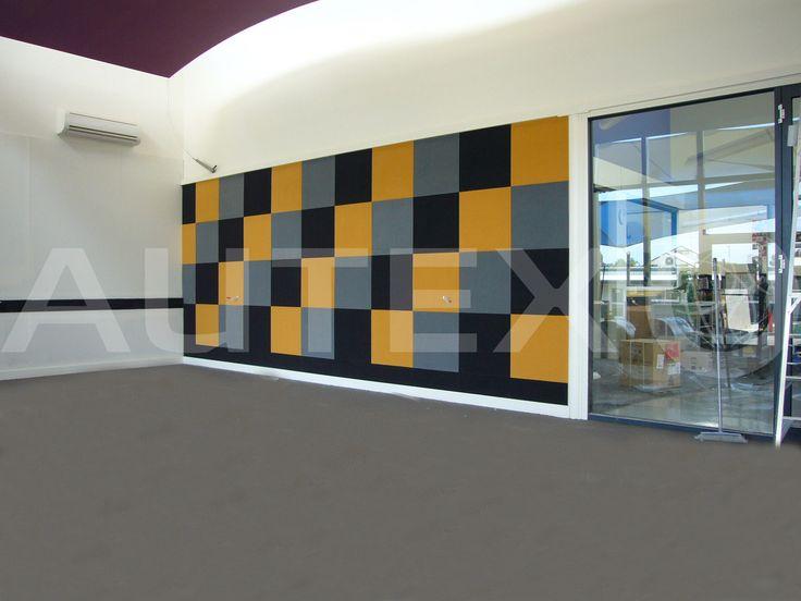 Autex Interior Acoustics - Composition® Peel'n'Stick - B Grammar School - Colours: Lightsout, Citrus and Stonewash - Acoustics in Education