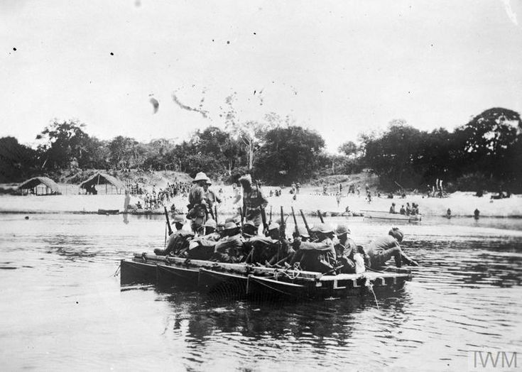 WWI, Jan 1917; The 1st Gold Coast Regiment crossing the Rufiji River, German East Africa.
