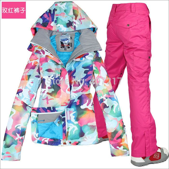 2015 hot pink ski suit women snowboarding riding suit skiwear camouflage ski jacket and ski pants waterproof 10K breathable warm